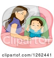 Clipart Of A Brunette White Mother Sleeping With Her Baby Daughter Royalty Free Vector Illustration