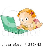 Clipart Of A Red Haired White Toddler Girl Using A Laptop On The Floor Royalty Free Vector Illustration
