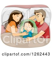 Clipart Of A Brunette Caucasian Mother And Father Sleeping With Their Baby Royalty Free Vector Illustration