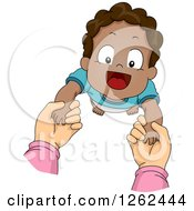 Clipart Of White Hands Holding Up A Black Toddler Boy While Taking First Steps Royalty Free Vector Illustration