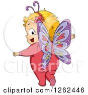 Clipart Of A Blond White Toddler Girl Looking Back And Wearing A Butterfly Costume Royalty Free Vector Illustration