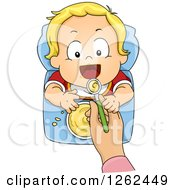 Blond White Toddler Boy Being Spood Fed Cereal