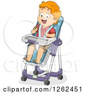 Clipart Of A Red Haired White Toddler Boy Sitting In A High Chair Royalty Free Vector Illustration