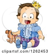 Clipart Of A Brunette White Safari Boy Dressed As A Prince Royalty Free Vector Illustration