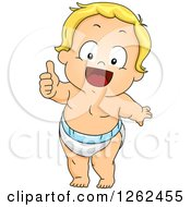 Clipart Of A Blond White Toddler Boy Holding A Thumb Up Royalty Free Vector Illustration