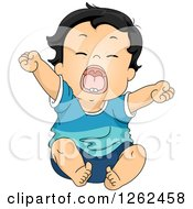 Clipart Of A Tired Toddler Boy Stretching And Yawning Royalty Free Vector Illustration