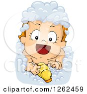 Clipart Of A Red Haired White Toddler Baby Girl Taking A Bubble Bath With A Rubber Duck Royalty Free Vector Illustration