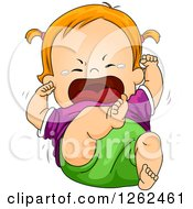 Clipart Of A Red Haired White Toddler Girl Screaming And Crying In A Tantrum Royalty Free Vector Illustration by BNP Design Studio