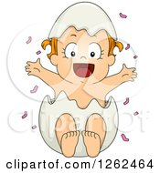 Clipart Of A White Toddler Girl Popping Out Of An Egg Shell With Pink Gender Reveal Confetti Royalty Free Vector Illustration