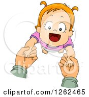 Clipart Of Caucasian Hands Helping A Toddler Girl Take Her First Steps Royalty Free Vector Illustration