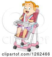 Clipart Of A Red Haired White Toddler Girl In A High Chair Royalty Free Vector Illustration