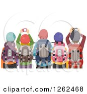 Clipart Of A Rear View Of Hikers Taking Pictures Royalty Free Vector Illustration by BNP Design Studio
