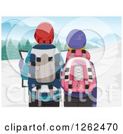 Clipart Of A Rear View Of A Couple Hiking In Winter Stopped To Look At A Map Royalty Free Vector Illustration
