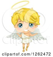 Clipart Of A Cute Blond Angel Boy Royalty Free Vector Illustration by BNP Design Studio