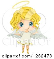 Clipart Of A Cute Blond White Girl In An Angel Costume Royalty Free Vector Illustration by BNP Design Studio