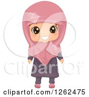 Clipart Of A Cute Girl Posing In A Muslim Dress Royalty Free Vector Illustration