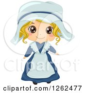 Clipart Of A Cute Blond White Girl Posing In A French Costume Royalty Free Vector Illustration by BNP Design Studio