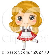 Clipart Of A Cute Blond Girl Posing In A German Costume Royalty Free Vector Illustration by BNP Design Studio