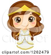 Clipart Of A Cute Girl Posing In A Greek Costume Royalty Free Vector Illustration