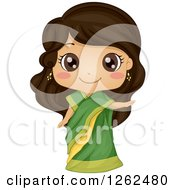 Clipart Of A Cute Girl Posing In An Indian Costume Royalty Free Vector Illustration by BNP Design Studio
