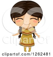 Clipart Of A Cute Girl Posing In A Native American Indian Costume Royalty Free Vector Illustration by BNP Design Studio