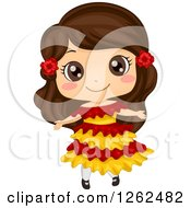 Clipart Of A Cute Girl Posing In A Mexican Costume Royalty Free Vector Illustration