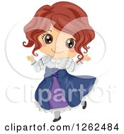 Clipart Of A Cute Girl Posing In A Renaissance Costume Royalty Free Vector Illustration