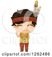 Clipart Of A Cute Boy In A Native American Indian Costume Royalty Free Vector Illustration