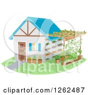Clipart Of A House And Attached Trellis Garden Royalty Free Vector Illustration