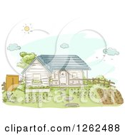 Clipart Of A House With A Big Garden In The Yard Royalty Free Vector Illustration