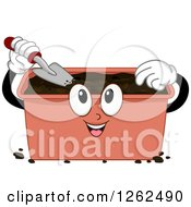 Clipart Of A Compost Bin Using A Shovel Royalty Free Vector Illustration