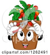 Clipart Of A Happy Pot Cutting Cherry Tomatoes Royalty Free Vector Illustration