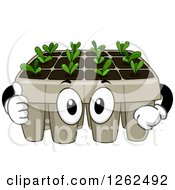 Clipart Of A Seedling Plant Tray Giving A Thumb Up Royalty Free Vector Illustration