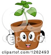 Clipart Of A Basil Plant Pot Giving A Thumb Up Royalty Free Vector Illustration