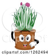 Clipart Of A Chives Plant Pot Character Royalty Free Vector Illustration