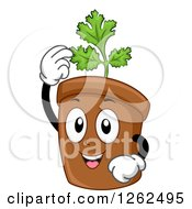 Clipart Of A Coriander Cilantro Plant Pot Character Royalty Free Vector Illustration