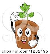 Coriander Cilantro Plant Pot Character