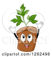 Clipart Of A Parsley Plant Pot Cheering Royalty Free Vector Illustration