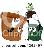 Clipart Of Two Pots Exhcanging A Plant Royalty Free Vector Illustration