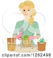 Blond White Woman Planting In Pots