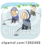 Clipart Of Men Ice Fishing On A Frozen Lake Royalty Free Vector Illustration