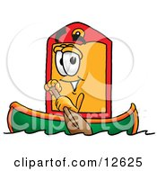 Price Tag Mascot Cartoon Character Rowing A Boat