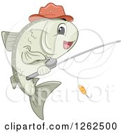 Clipart Of A Happy Fish With A Reel Royalty Free Vector Illustration