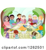 Clipart Of People With Food At A Potluck In A Park Royalty Free Vector Illustration by BNP Design Studio
