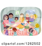 Clipart Of Happy People At A Potluck Party Royalty Free Vector Illustration by BNP Design Studio