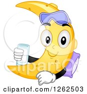 Clipart Of A Crescent Moon Character With A Pillow Mask And Glass Of Milk Royalty Free Vector Illustration