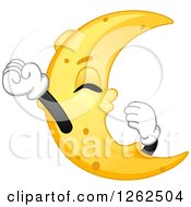 Clipart Of A Crescent Moon Streatching And Yawning Royalty Free Vector Illustration