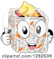 Clipart Of A California Maki Character Holding A Thumb Up Royalty Free Vector Illustration by BNP Design Studio