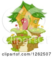 Clipart Of A Garden Fairy House With A Leaf Roof Royalty Free Vector Illustration by BNP Design Studio