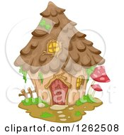 Clipart Of A Gnome House With Mushrooms Royalty Free Vector Illustration